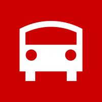 "Rotes Piktogramm ""Bus"""