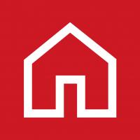 """Rotes Piktogramm """"Haus"""""""